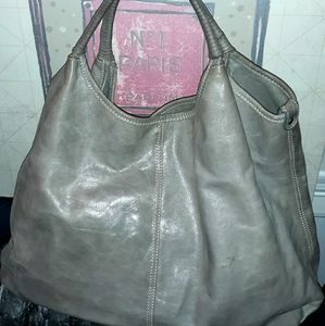 Gray Leather Tote/Hobo